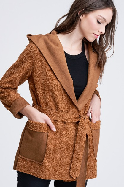 BOUCLE OPEN HOODIE JACKET WITH SUEDE - orangeshine.com