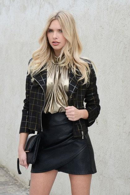 SUEDE METALLIC PLAID PRINT JACKET - orangeshine.com