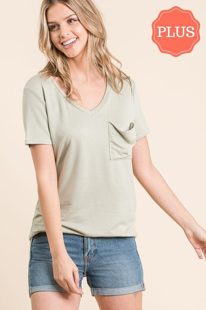 BASIC V NECKLINE FRONT POCKET TOP - orangeshine.com