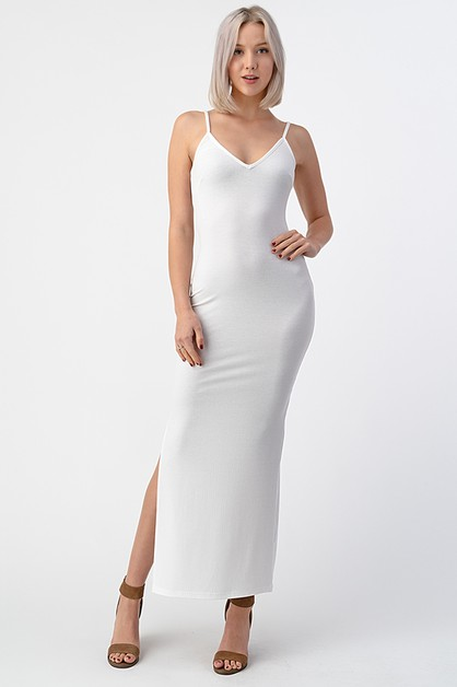 SIDE SLIT CAMI MAXI DRESS - orangeshine.com