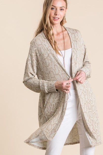 SNAKESKIN OPEN LONG CARDIGAN - orangeshine.com