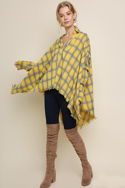 Plaid Frayed Asymmetrical Hem Top  - orangeshine.com