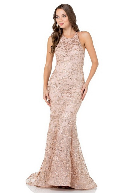 Halter Neck Sequin Evening Dress - orangeshine.com