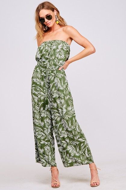 TUBE LEAF PRINT JUMPSUIT - orangeshine.com