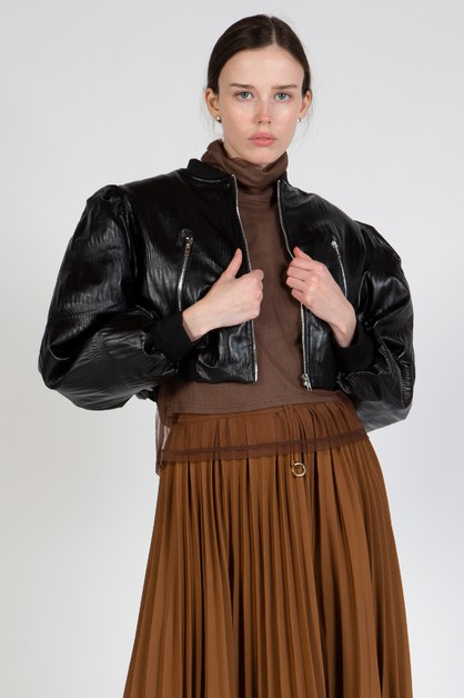 Cropped Jacket with Puff Sleeves - orangeshine.com