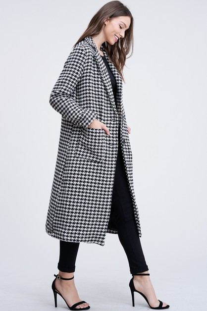 HOUNDS TOOTH LONG TRENCH COAT  - orangeshine.com