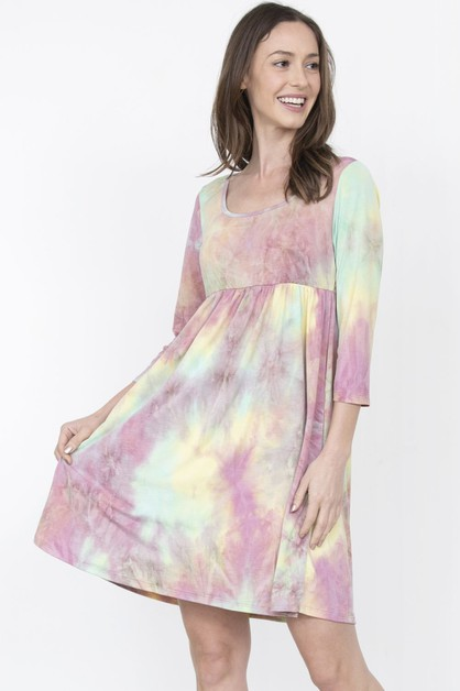 High Waist Tie Dye Mini Dress - orangeshine.com