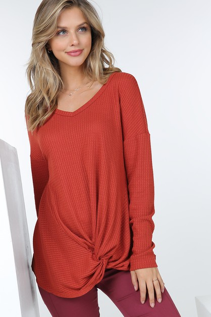 Waffle Knit Long Sleeve Tunic Top W  - orangeshine.com