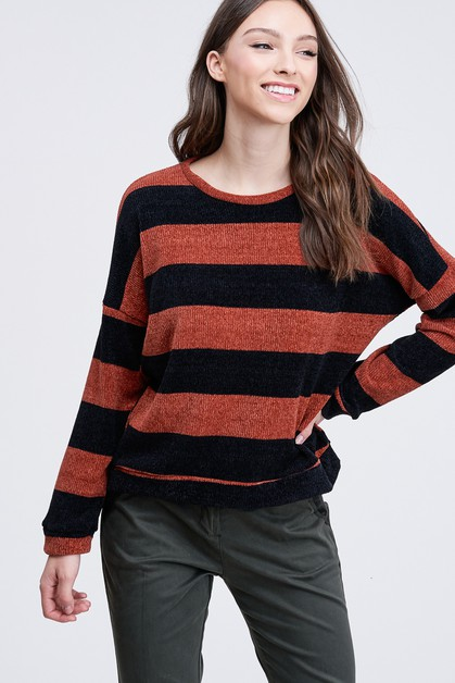 STRIPED LONG CREW NECK SWEATER - orangeshine.com