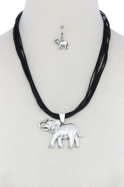 ELEPHANT PENDANT PU LEATHER NECKLACE - orangeshine.com
