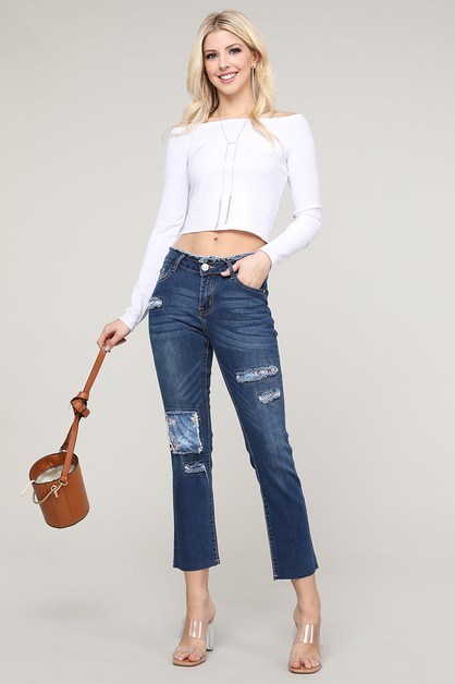 Womens Mid Rise Patches Jeans - orangeshine.com