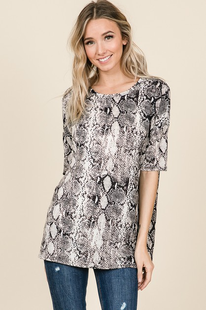LOOSE FIT SNAKE SKIN PRINT TUNIC TOP - orangeshine.com