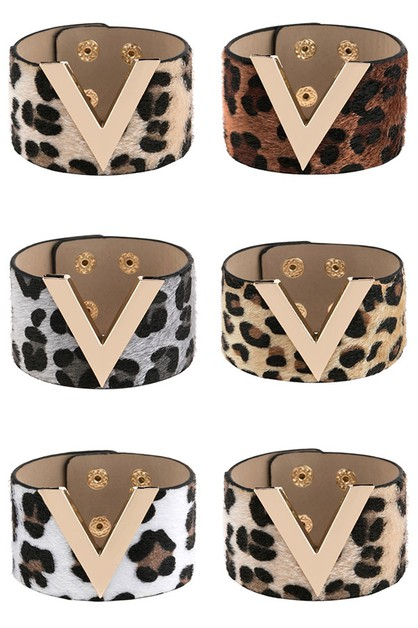 V LEOPARD PRINTED LEATHER BRACELET - orangeshine.com