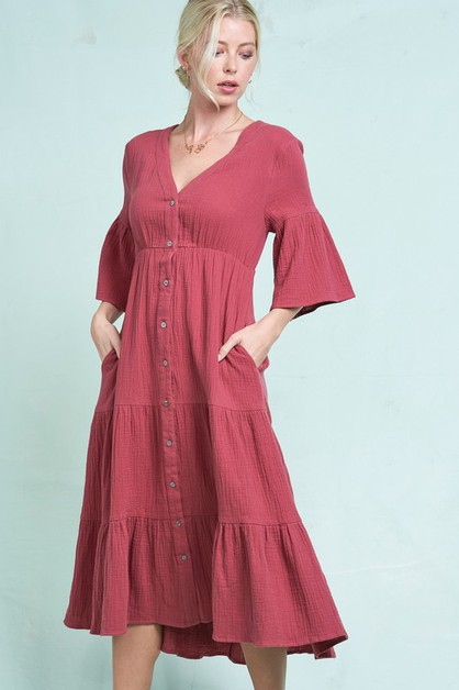 Button Down Short Sleeve Maxi Dress - orangeshine.com