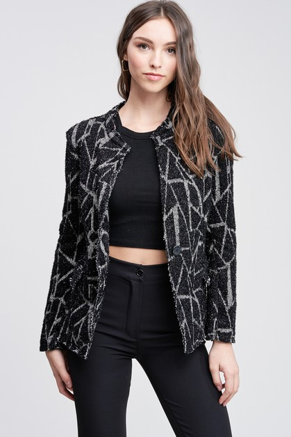 LUREX SPIDER WEB ONE BUTTON BLAZER - orangeshine.com
