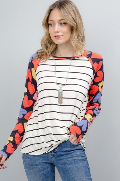 STRIPE LOVE PRINT FRONT KNOT TOP - orangeshine.com