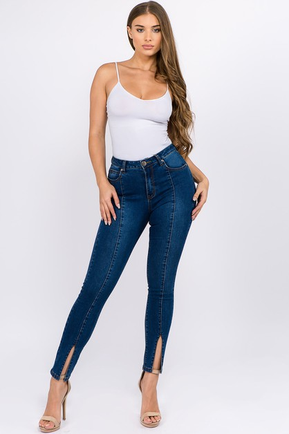 DENIM HIGH WAIST SKINNY JEANS SLIT - orangeshine.com