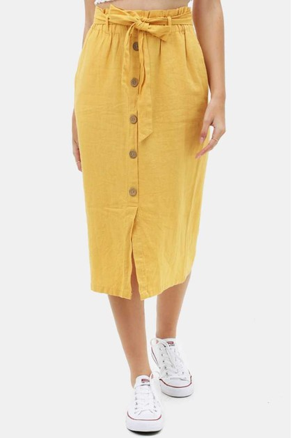 WAIST TIE BUTTONED SKIRT - orangeshine.com