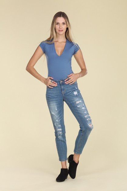 Womens Mid Rise Ripped Jeans - orangeshine.com