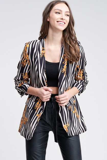 RUCHED SLEEVE BLAZER - orangeshine.com