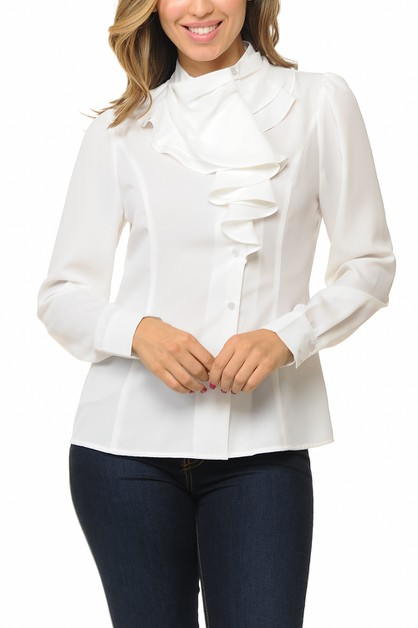 Women ruffle front long sleeve blous - orangeshine.com