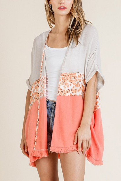Animal Print Colorblocked Kimono - orangeshine.com
