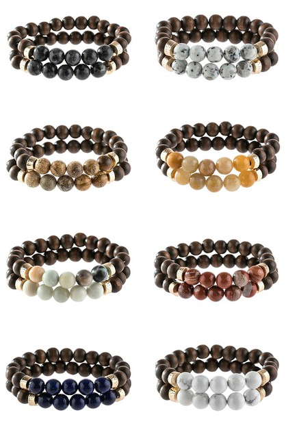 NATURAL STONE WOOD BEADS BRACELET - orangeshine.com