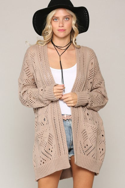 LOOSE FIT KNIT CARDIGAN WITH POCKETS - orangeshine.com