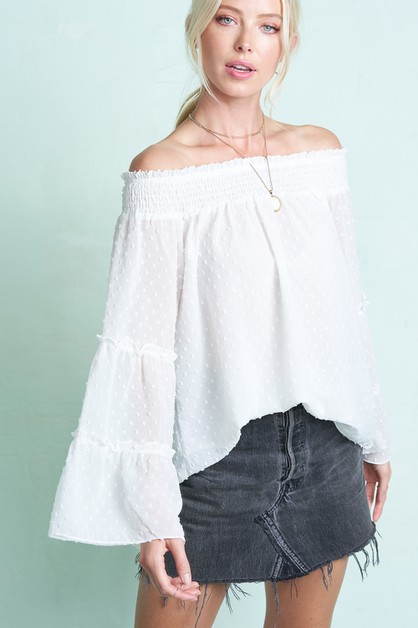 Layered Bell Sleeve Off Shoulder Top - orangeshine.com