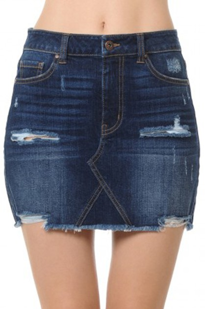 SEMI A LINE FRAYED HEM DENIM SKIRT  - orangeshine.com
