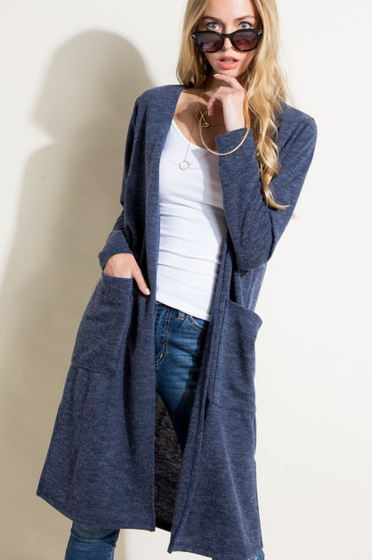 MOHAIR SOLID PK SIDE SLIT CARDIGAN - orangeshine.com