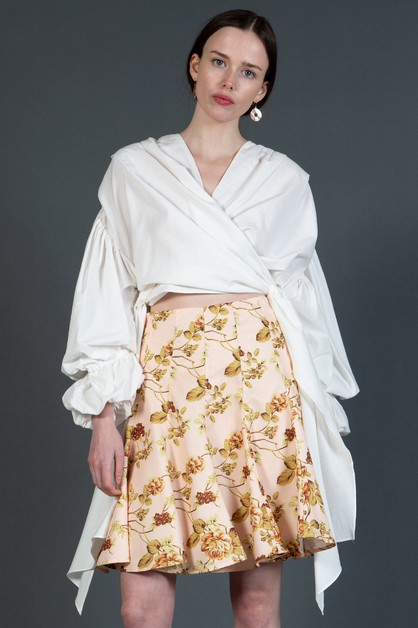 Wrapped Blouse with Long Puff Sleeve - orangeshine.com