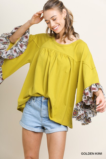 Medallion Print Oversized Ruffle Top - orangeshine.com