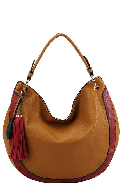 TWO TONE TASSEL HOBO BAG  - orangeshine.com
