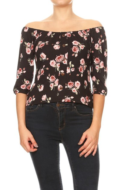 Black Floral Off Shoulder Tops - orangeshine.com