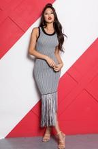 Striped Knit Fringed Bodycon Dress - orangeshine.com