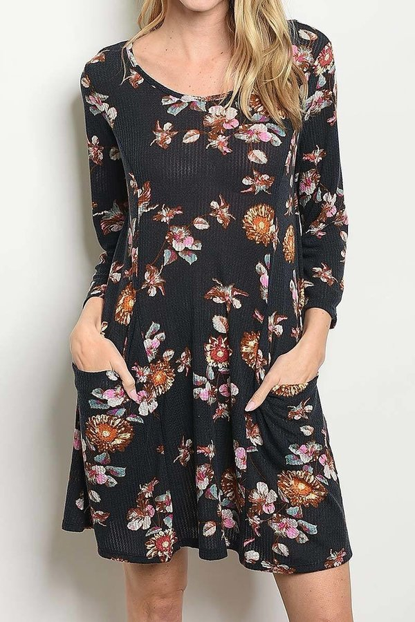 FLORAL DRESS WITH POCKET DETAIL - orangeshine.com
