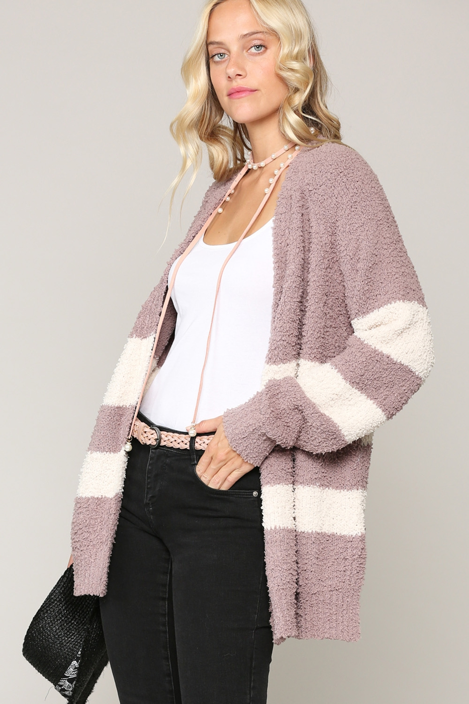 SOFT FUZZY CARDIGAN IN STRIPE PATTERN - orangeshine.com