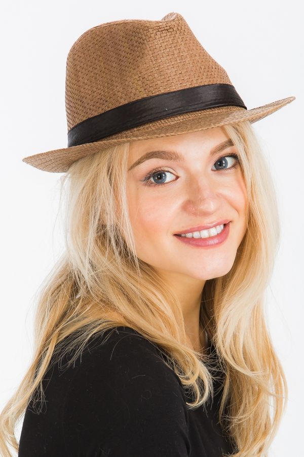 Solid Colored Basket Weaved Fedora - orangeshine.com