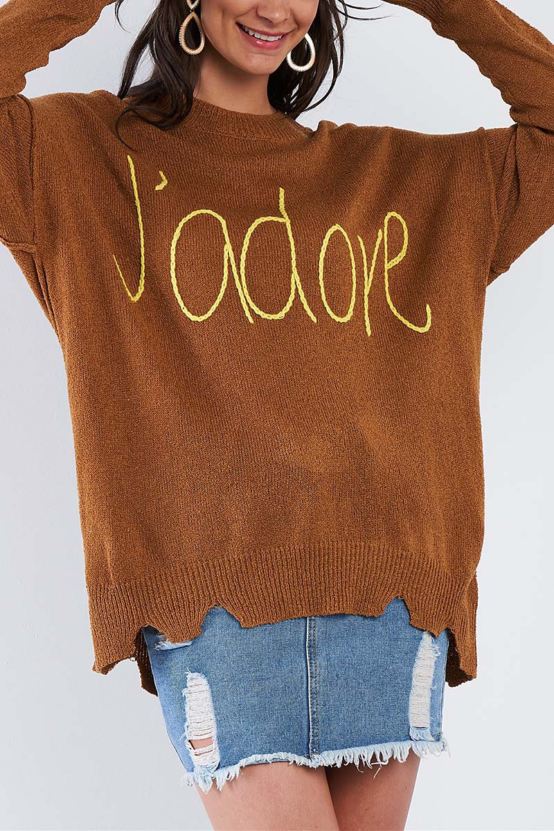J ADORE SCRIPT KNIT RELAXED FIT SWEA - orangeshine.com