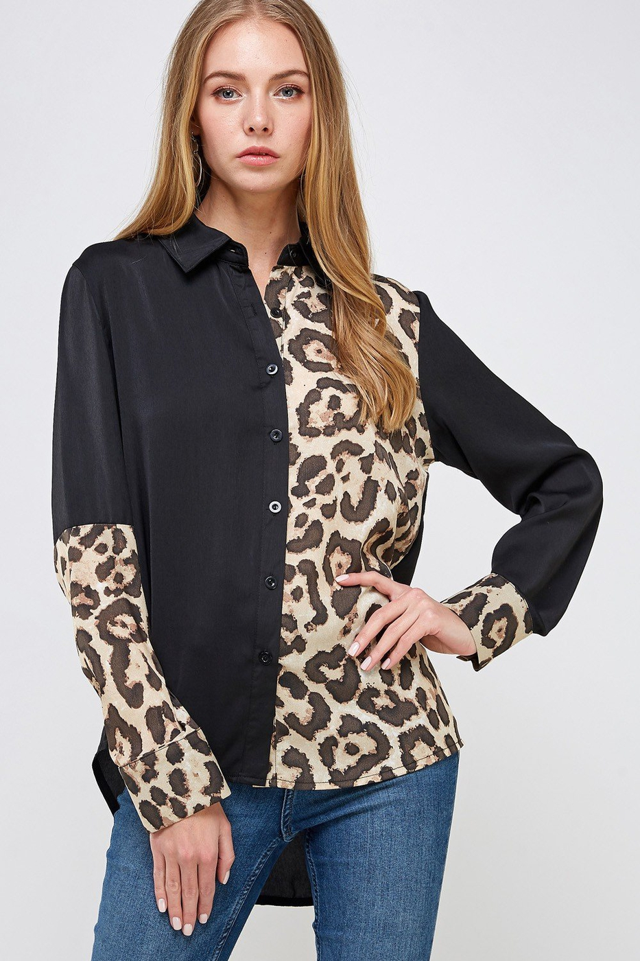 Leopard and Solid Button Down Shirt - orangeshine.com