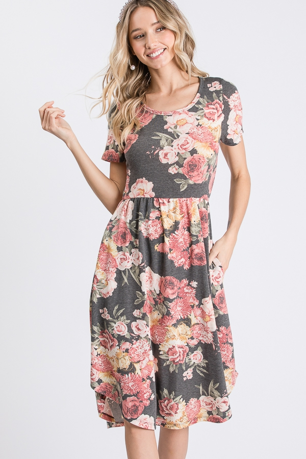 FLORAL SHORT SLEEVE DRESS  - orangeshine.com