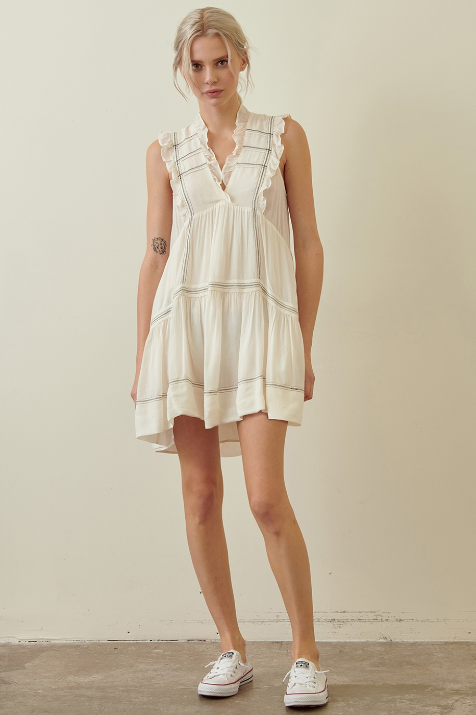 SLEEVELESS MINI RUFFLED DRESS - orangeshine.com
