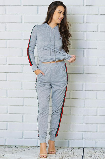 STRIPE SIDE HOODIE AND PANTS 2 PIECE - orangeshine.com