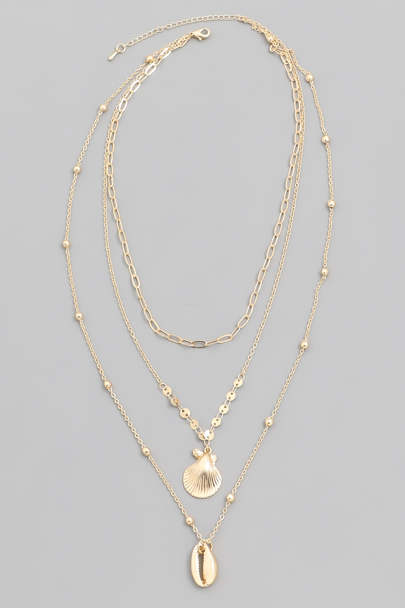 Layered Sea Shell Charm Necklace - orangeshine.com