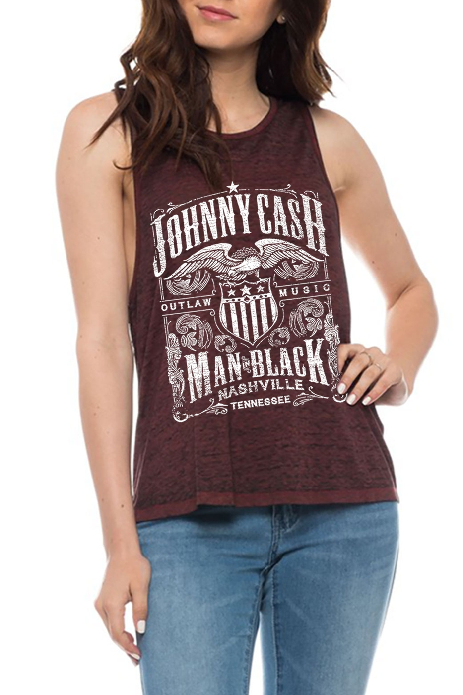 BURNOUT CUT UP BACK TANK TOP - orangeshine.com