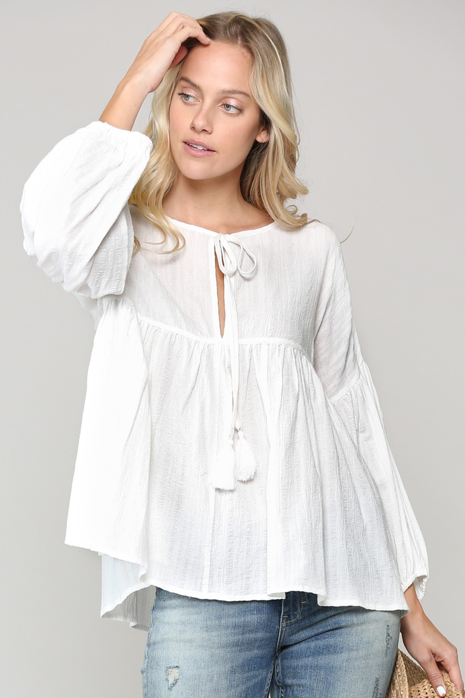 CROPPED FIT AND FLARE BLOUSE - orangeshine.com