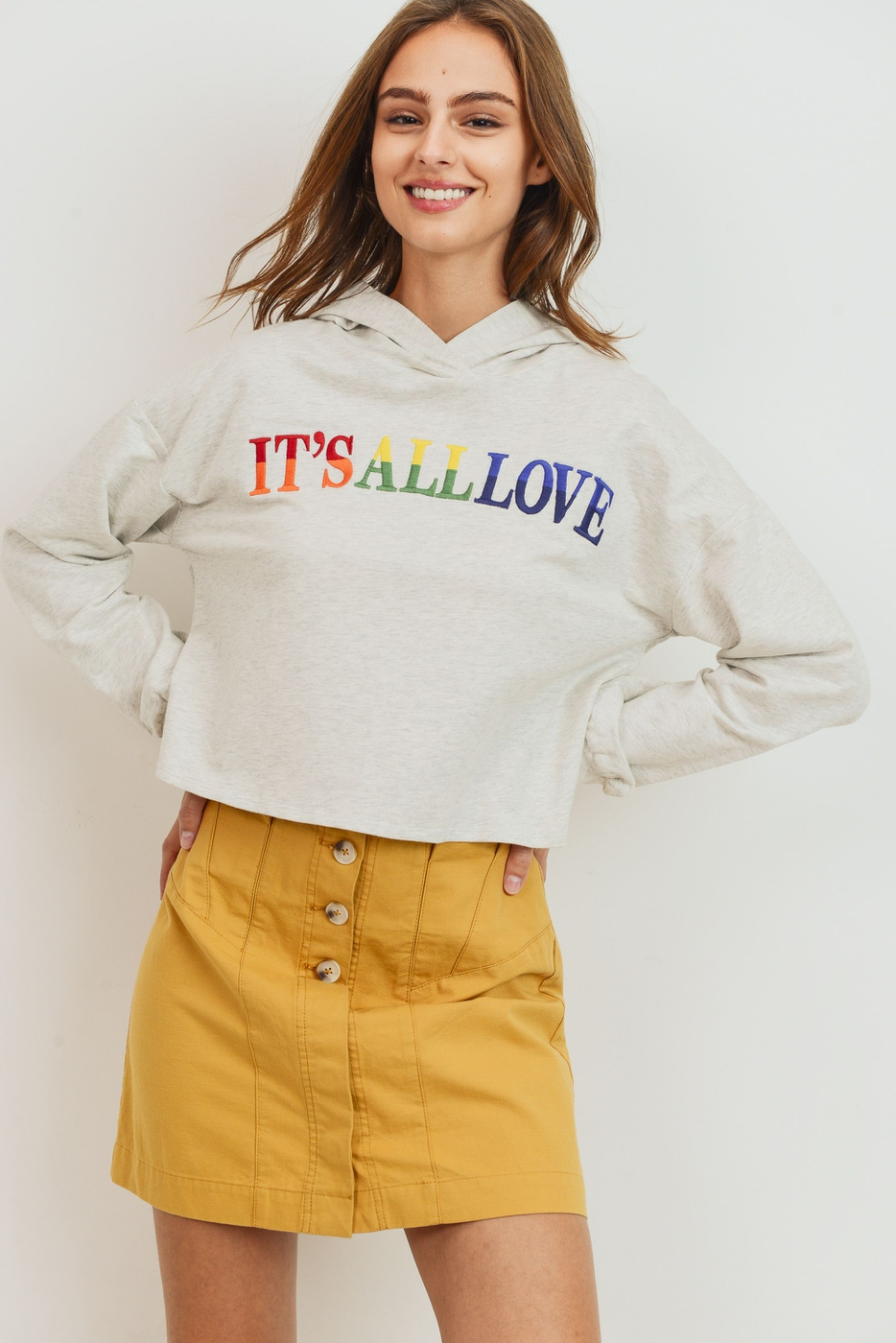 Its All Love Long Sleeve Cropped - orangeshine.com