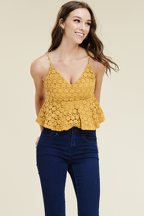 FLORAL LACE SPAGHETTI CROP TOP  - orangeshine.com