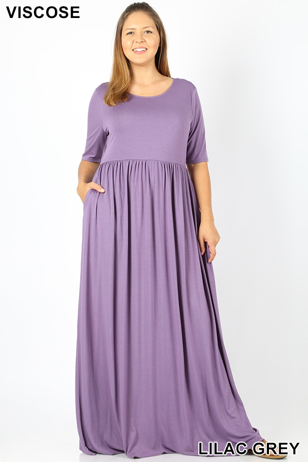PLUS VISCOSE HALF SLEEVE MAXI DRESS - orangeshine.com